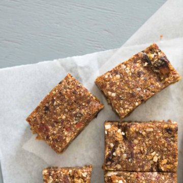 dried fruit bars on parchment