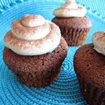 chocolate gingerbread cupcakes with buttercream and cinnamon sprinkles