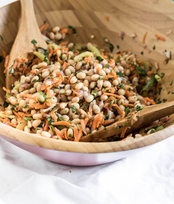 summer bean salad tossed in a lemon and herb salad dressing