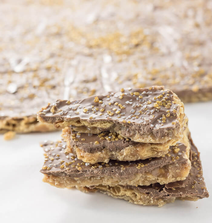 chocolate saltine toffee with gold sugar on top