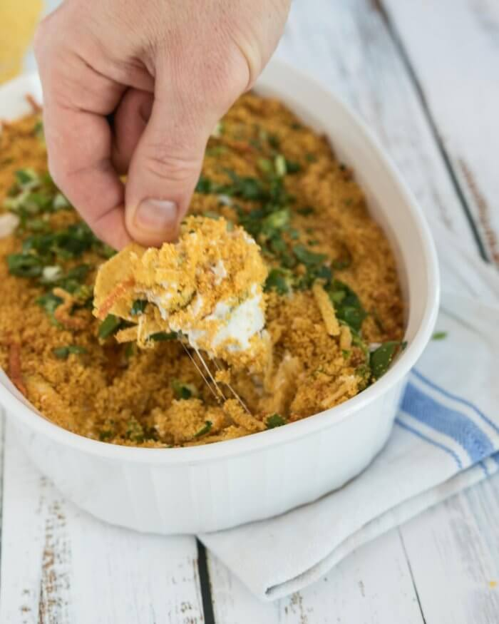 creamy jalapeno popper dip, picture of chip with cheesy dip
