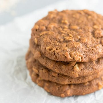 a stack of oatmeal molassses cookies