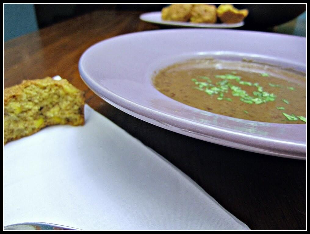 chipotle black bean soup in a purple bowl