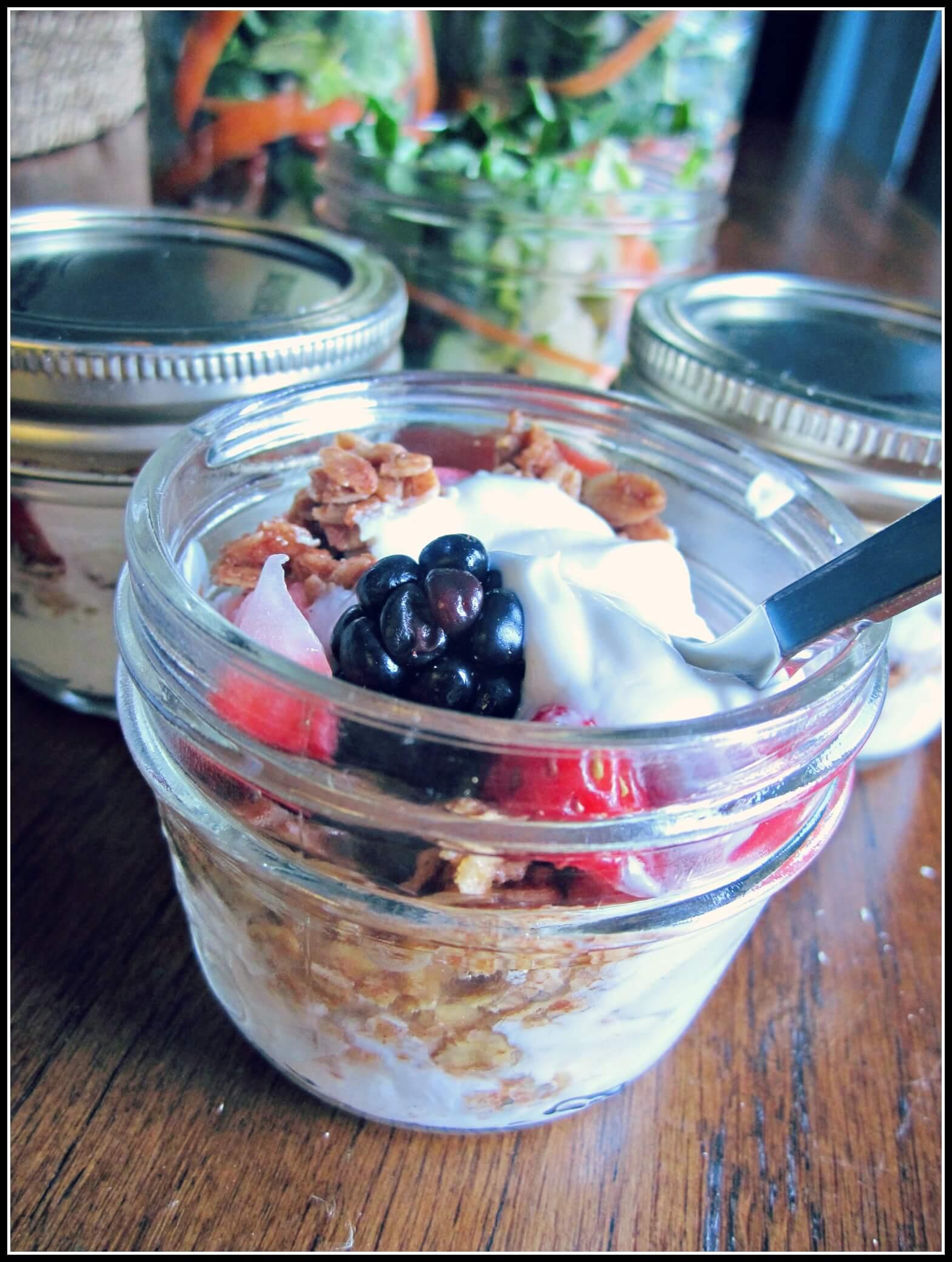 yogurt and fruit in a jar