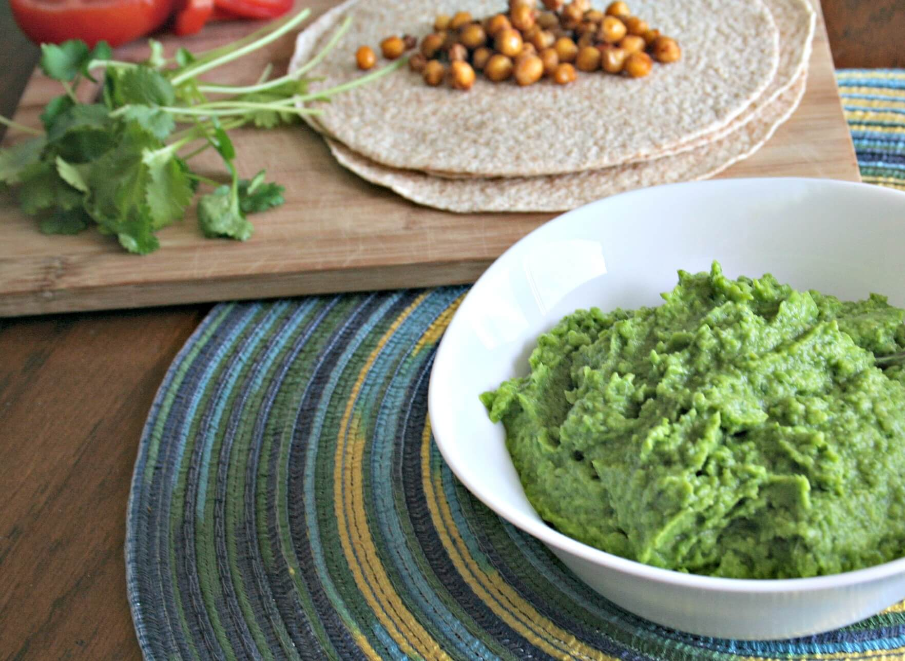 lighter guacamole made with avocado and green peas
