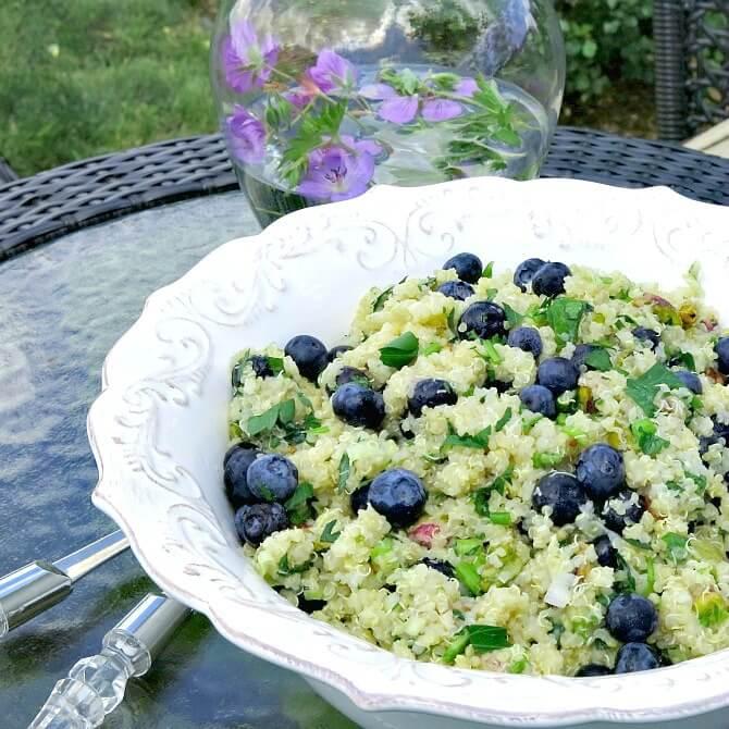 Quinoa and Blueberry Salad with Pistachios  | www.infinebalance.com #recipe