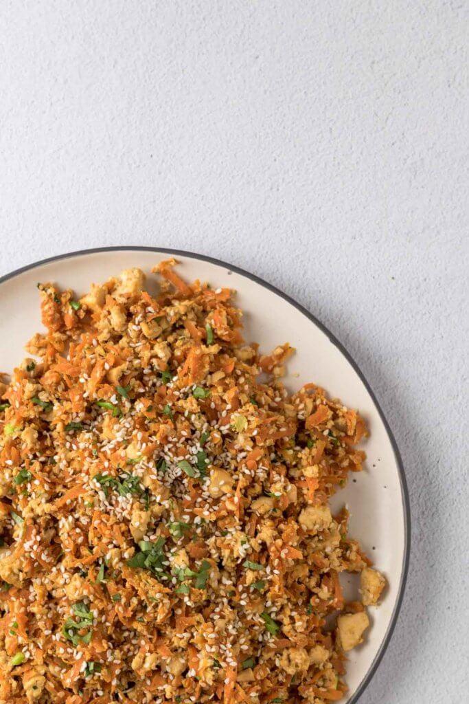 simple carrot tofu scramble with sesame seeds