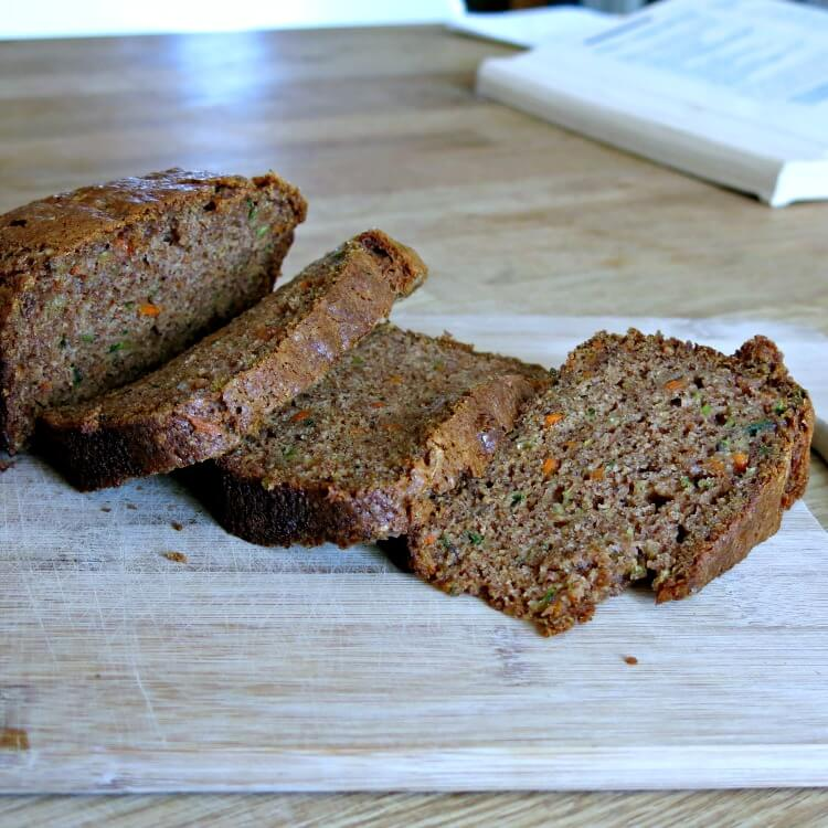 sliced zucchini and carrot bread on a cutting board
