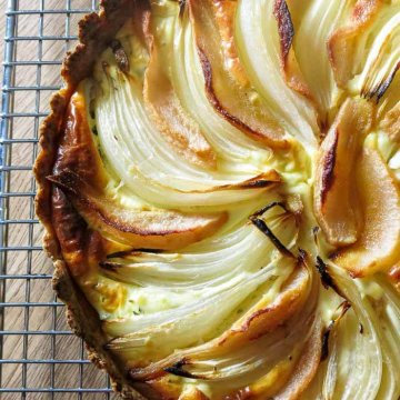 Roasted pear and onion tart with goat cheese and whole wheat crust