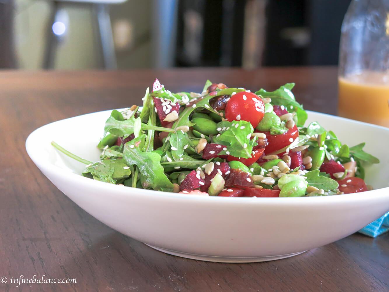arugula and edamame salad | www.infinebalance.com #salad #vegetarian #recipe