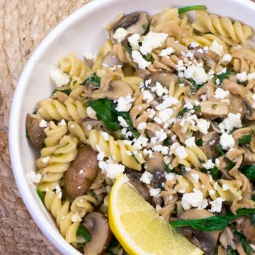 Fusilli with Mushroom and Feta | www.infinebalance.com