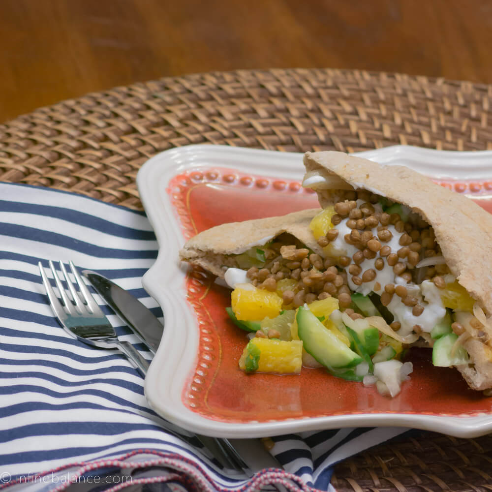 Lentil and Sweet Onion Pitas | www.infinebalance.com #vegetarian