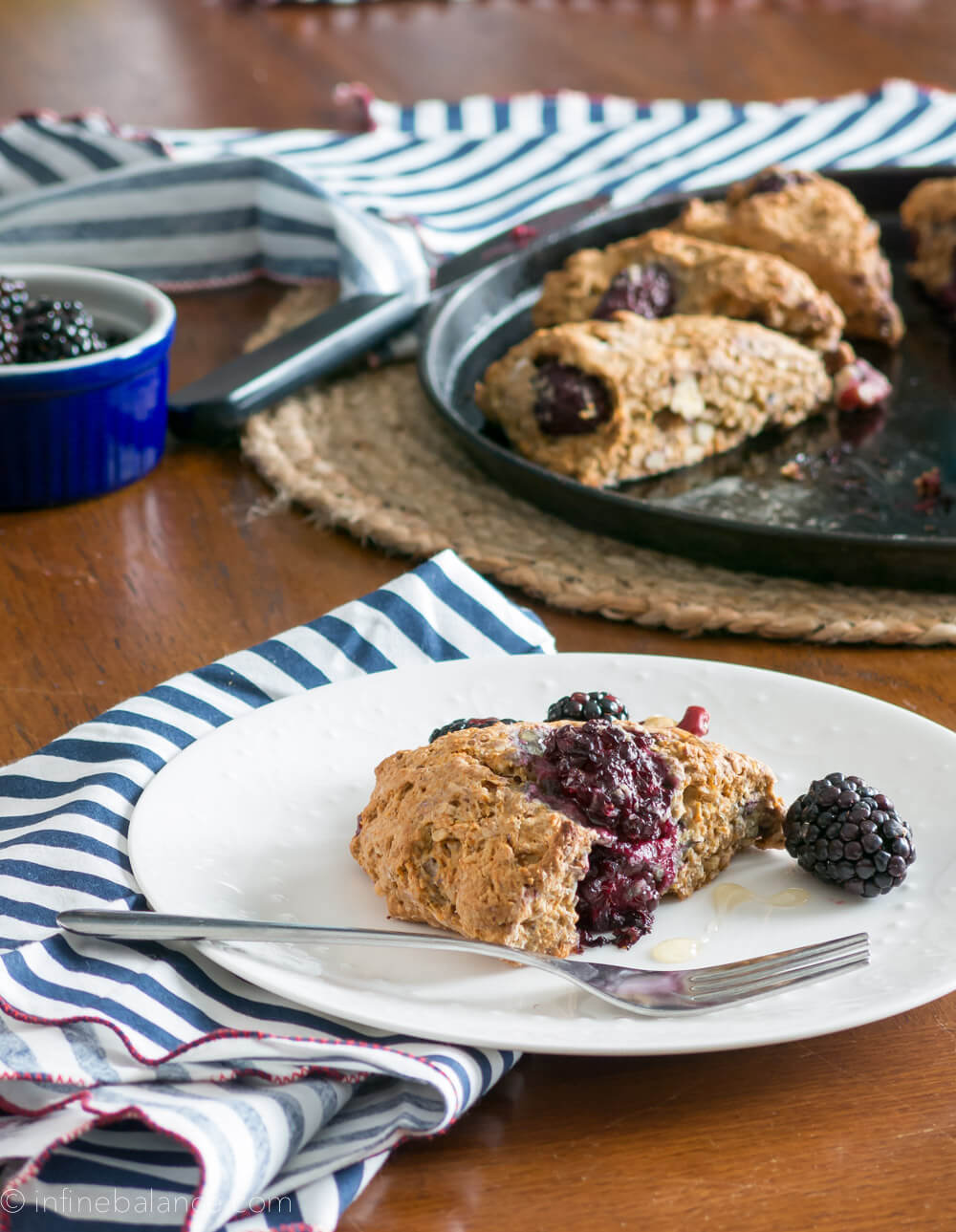 Blackberry and Red Walnut Scones. Perfect for a lazy Valentine's Day breakfast. Dough can be made the night before and is easily made vegan.