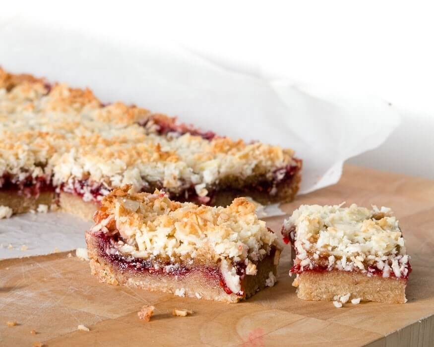 Gluten-free raspberry crumb bars