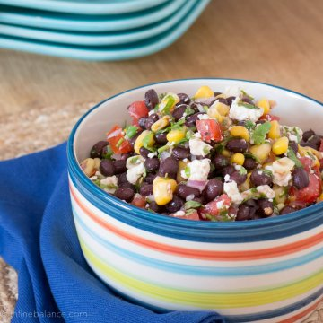 Black Bean and Corn Salad with Feta | www.infinebalance.com #recipe #vegetarian