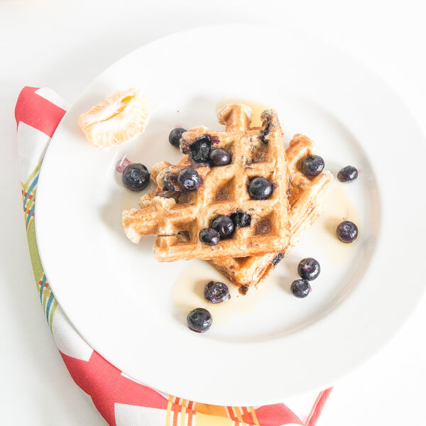 Whole Wheat and Blueberry Waffles | www.infinebalance.com #breakfast #recipe