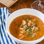 tomato based seafood stew with shrimp