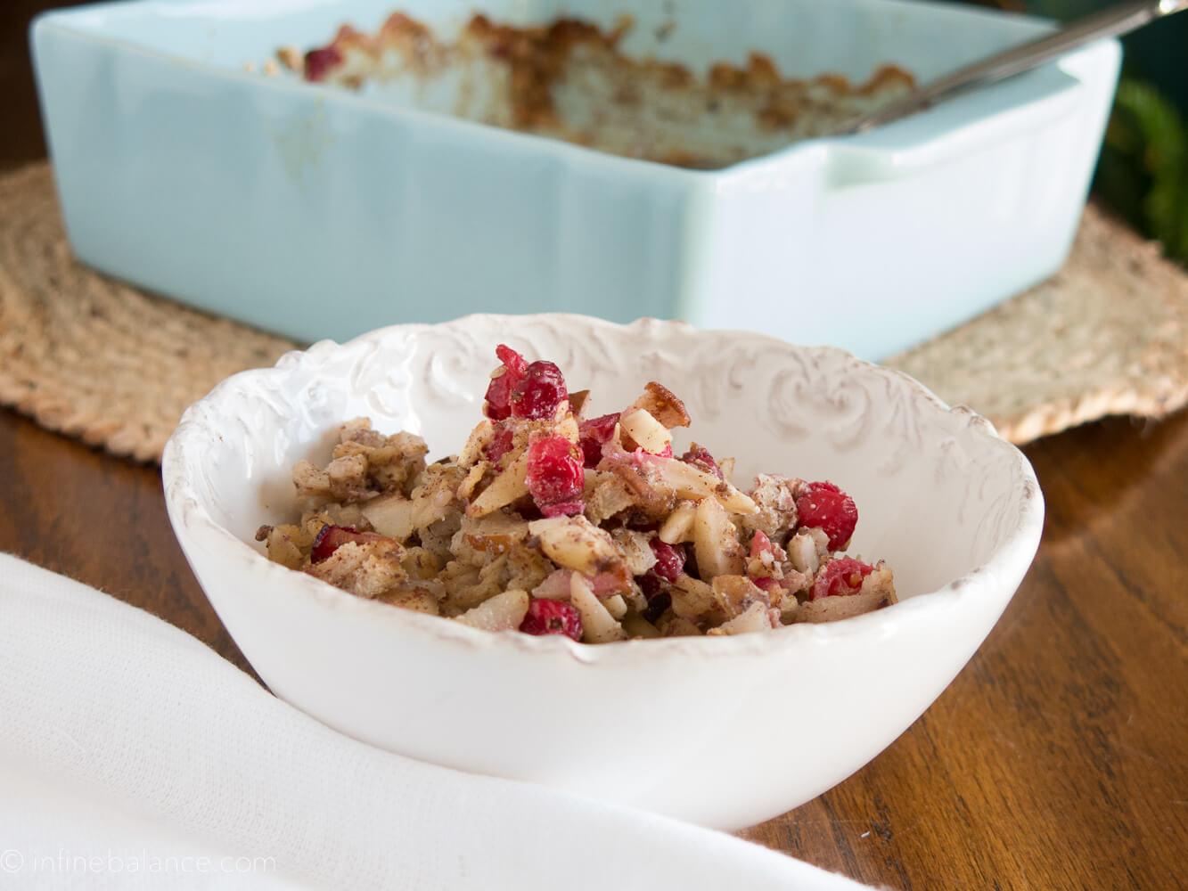 Cranberry and Pear Baked Oatmeal   www.infinebalance.com Breakfast recipe. Vegan