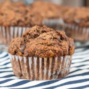 Double Chocolate Whole Wheat Banana Muffins   www.infinebalance.com #vegan #recipe