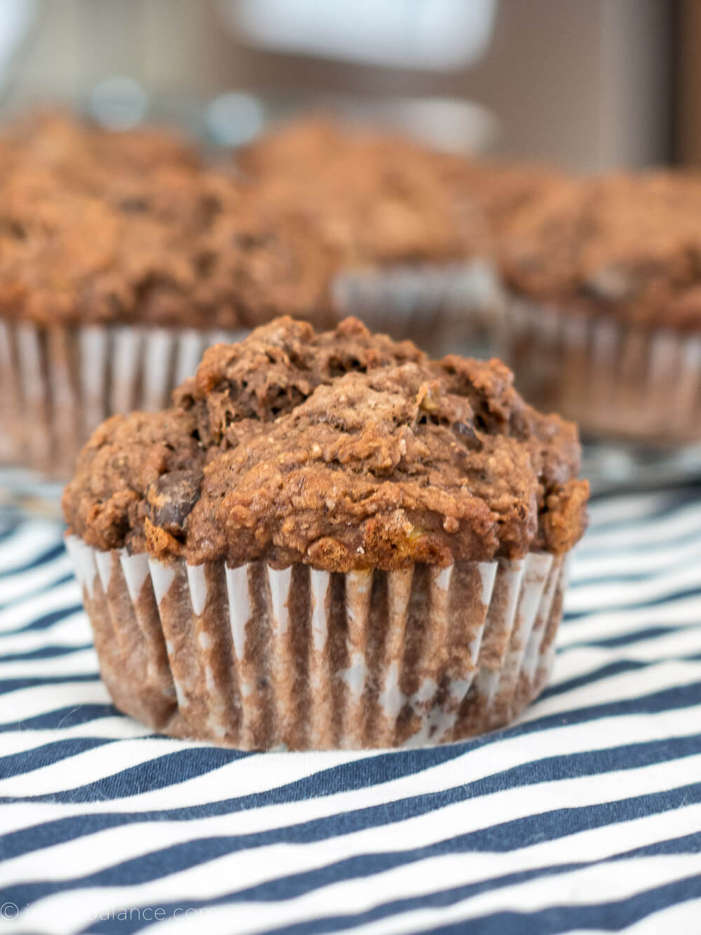 Double Chocolate Whole Wheat Banana Muffins | www.infinebalance.com #vegan #recipe
