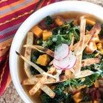 Sweet Potato Tortilla Soup with Kale