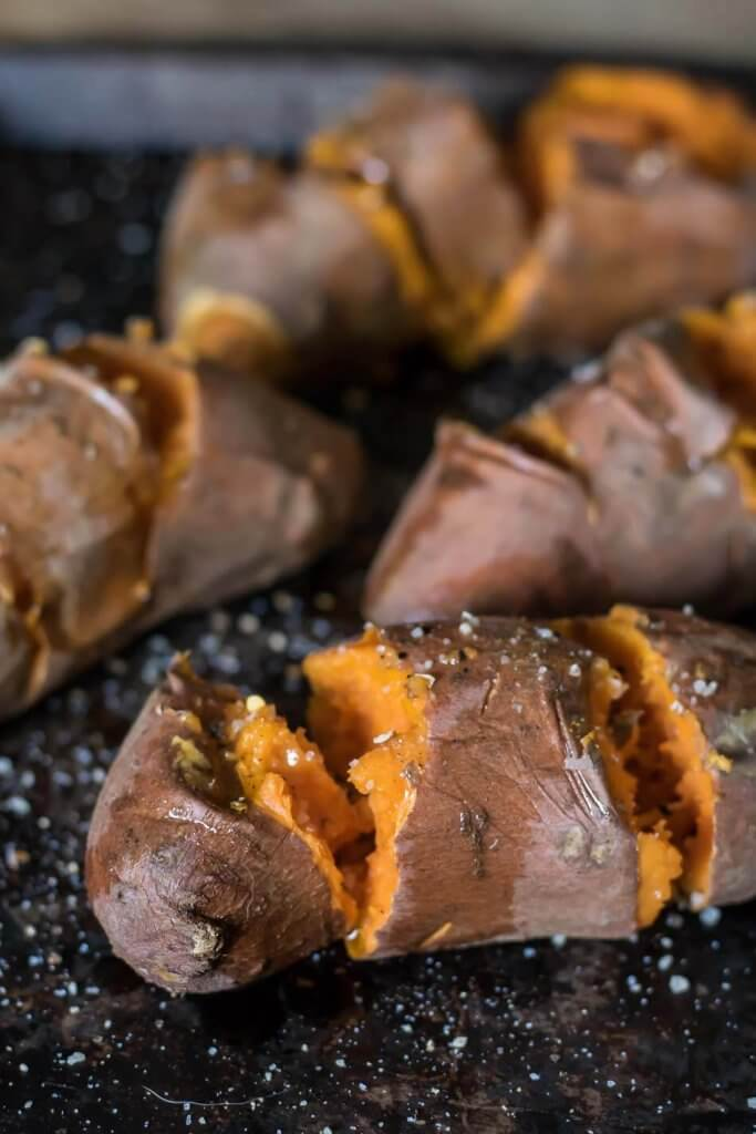 Roasted Sweet Potatoes with Smoked Cheddar