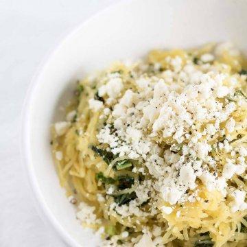 Spaghetti Squash with Feta and Kale | www.infinebalance.com #recipe