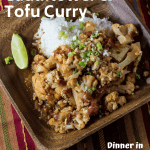 tofu curry on a wooden bowl