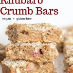 Rhubarb crumb bars stacked with text in image