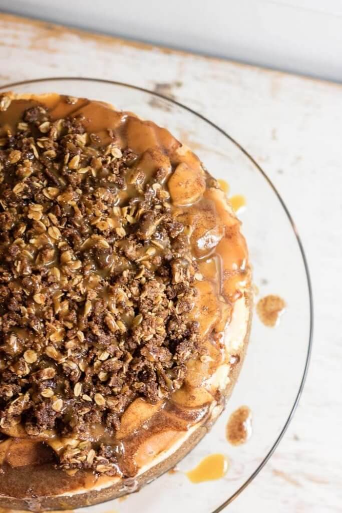 Caramel Apple Pie Cheesecake | www.infinebalance.com #recipe