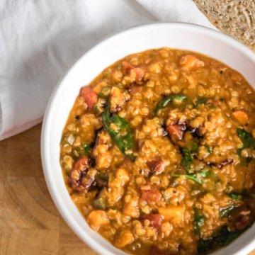 Easy Red Lentil Soup | www.infinebalance.com #recipe #vegan