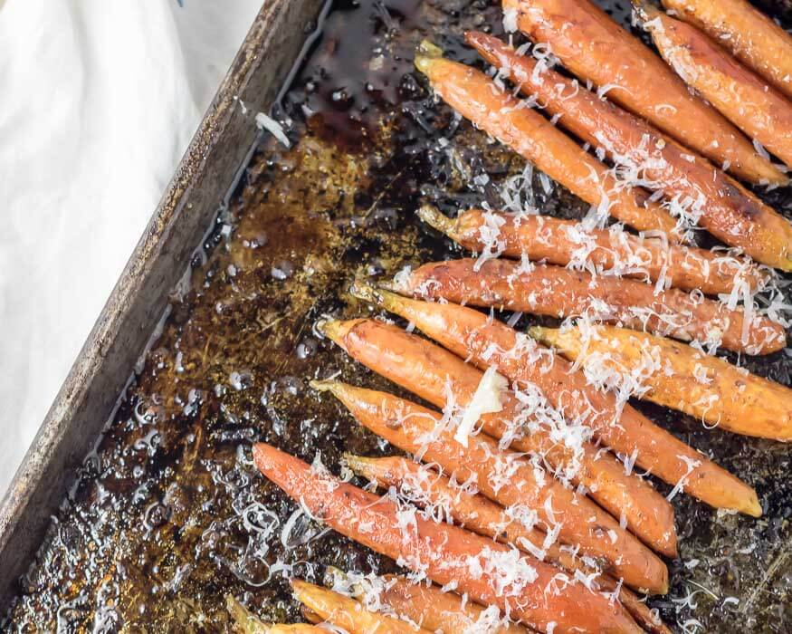 Balsamic and Garlic Roasted Carrots with Parmesan | www.infinebalance.com #recipe
