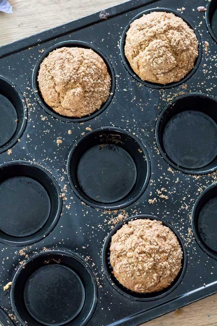 top view of pumpkin butter muffins in a muffin tin