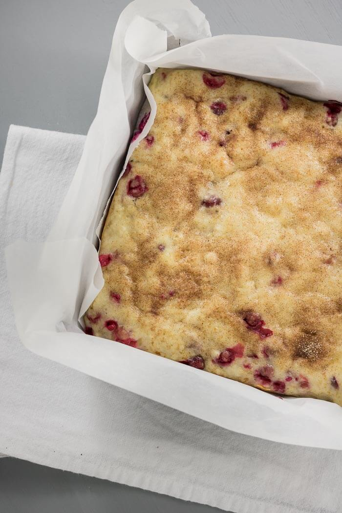 cranberry snack bread in baking tin