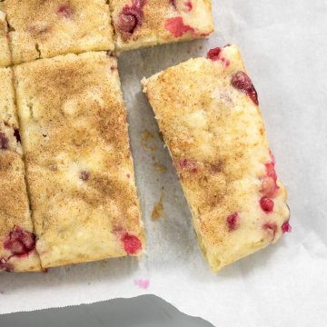 cranberry snack cake sliced, top side view