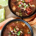 two bowls of turkey enchilada soup