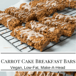carrot cake breakfast bars collage image
