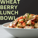 wheat berry lunch bowl with text on image