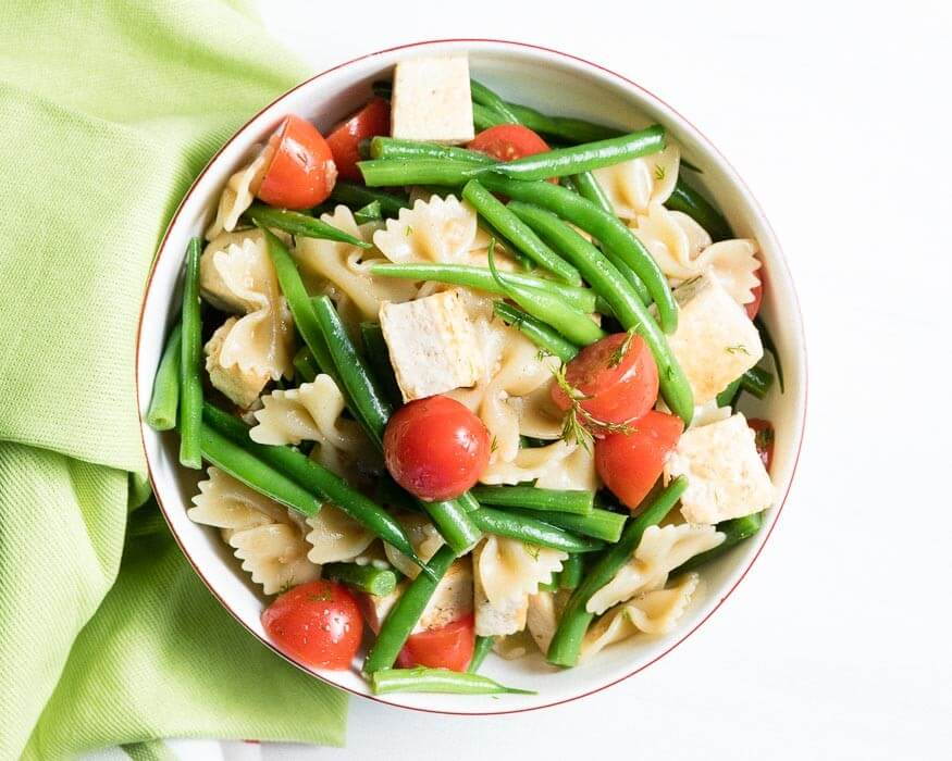 BowTie Pasta with Tofu, Cherry Tomatoes and Green Beans