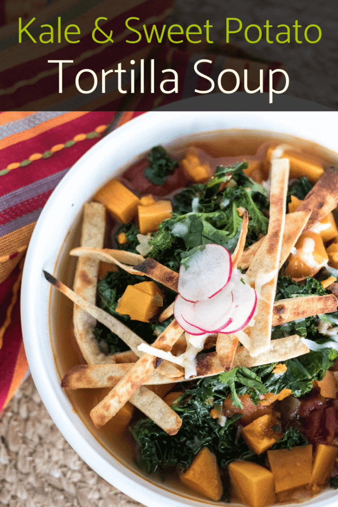 spicy vegan tortilla soup with sweet potato and kale
