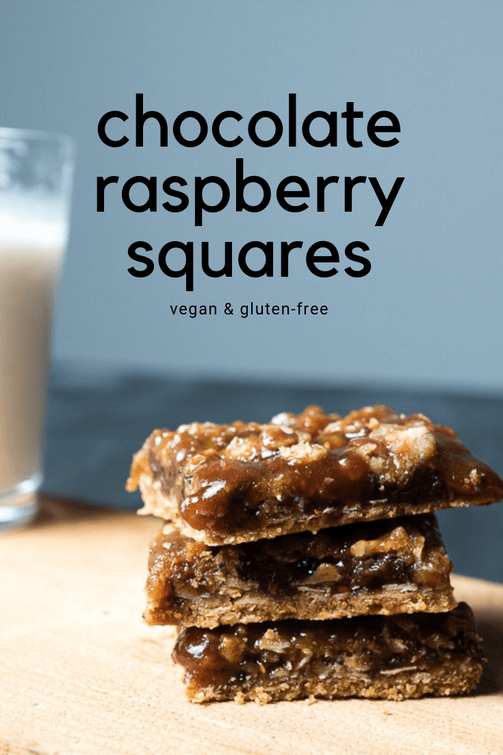 chocolate raspberry bars with a glass of milk. text on image
