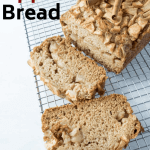 apple bread sliced on cooling rack