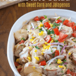 red vegan potato salad with sweet corn and jalapeno