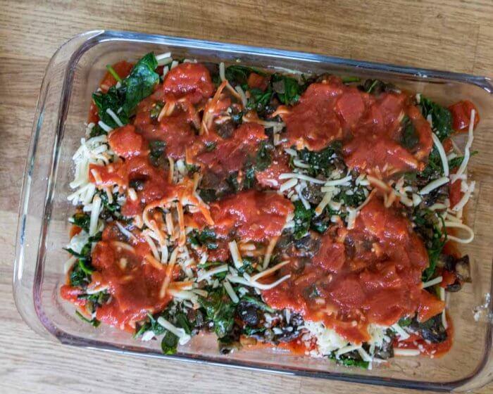 vegetable layer for easy vegetarian lasagna