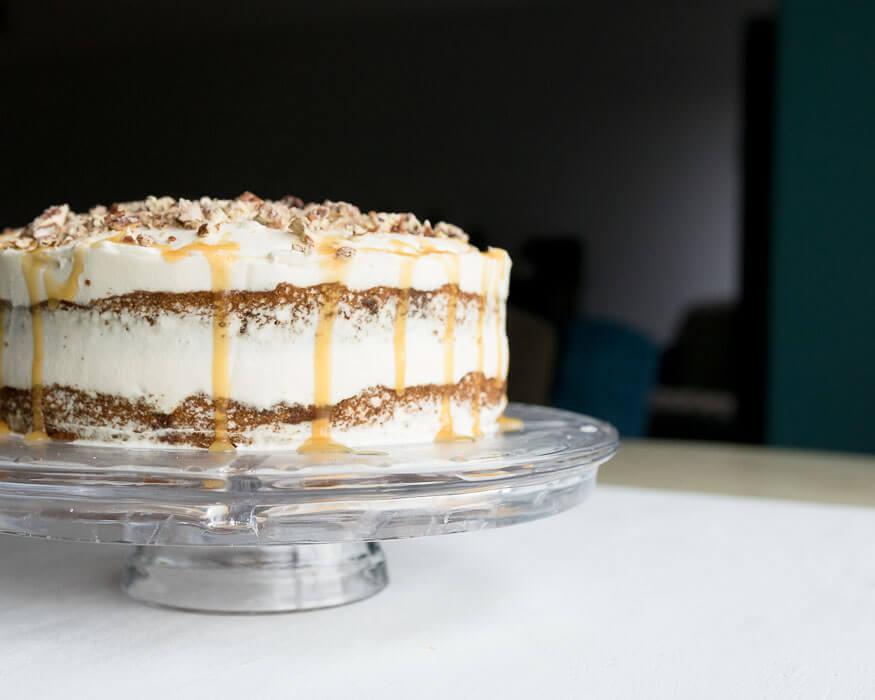 caramel pumpkin cake with pecans