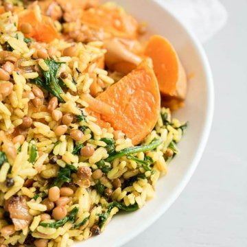 rice lentils and roasted butternut squash
