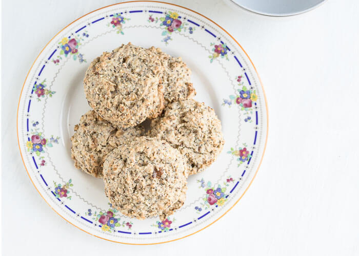 dairy free scones stacked on a plate
