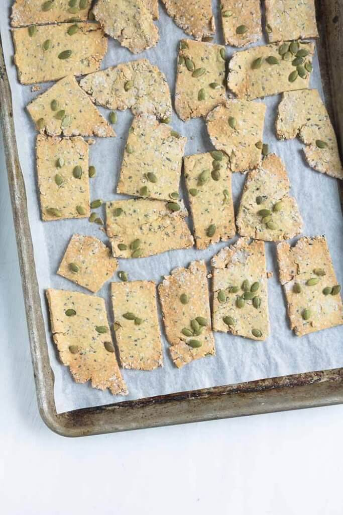 seed crackers on a baking tray
