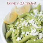 green pea and feta pasta with text on image