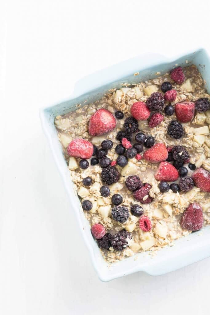 vegan baked oats with berries before baking